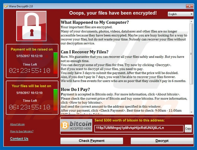 WanaCrypt0r 2.0 ransomware pop-up