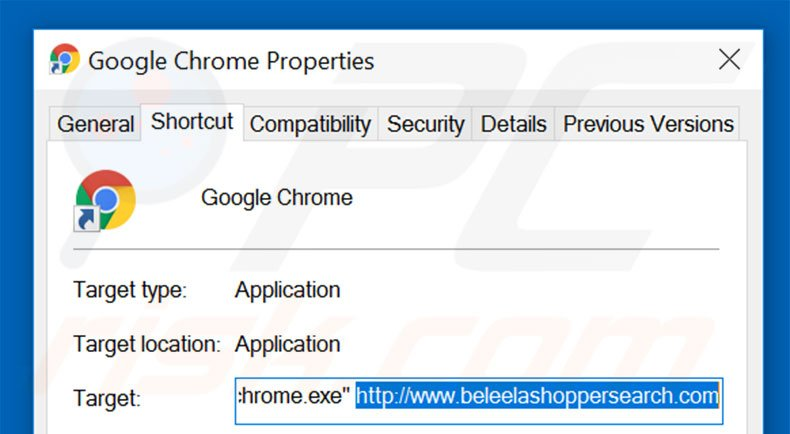 Removing beleelashoppersearch.com from Google Chrome shortcut target step 2