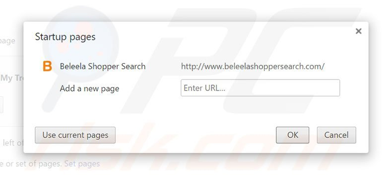 Removing beleelashoppersearch.com from Google Chrome homepage