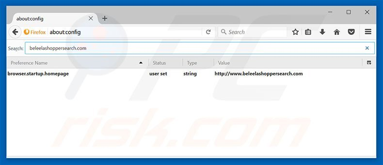 Removing beleelashoppersearch.com from Mozilla Firefox default search engine