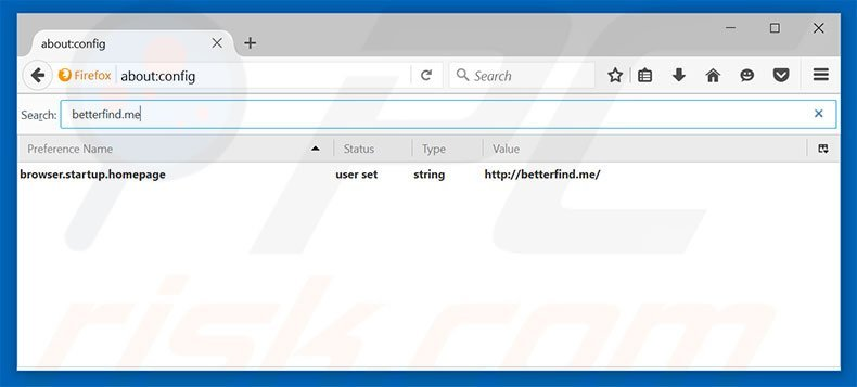 Removing betterfind.me from Mozilla Firefox default search engine