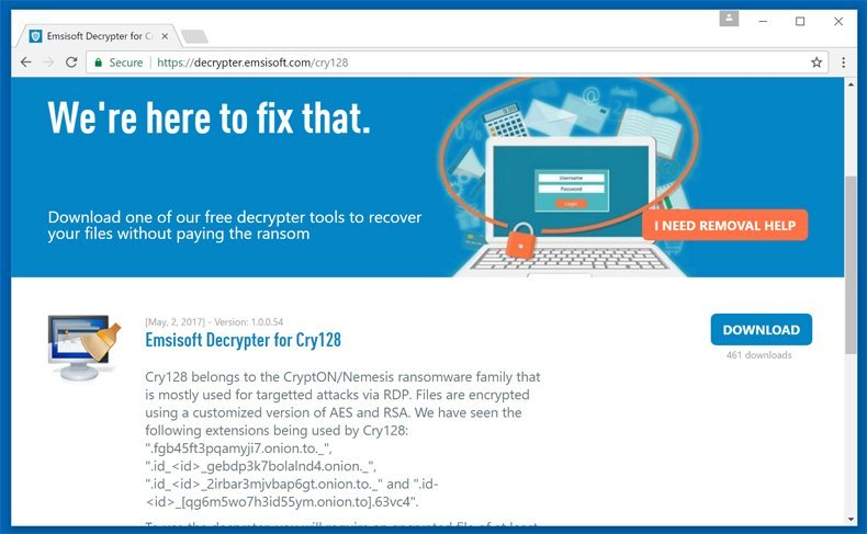 cry128 ransomware decrypter
