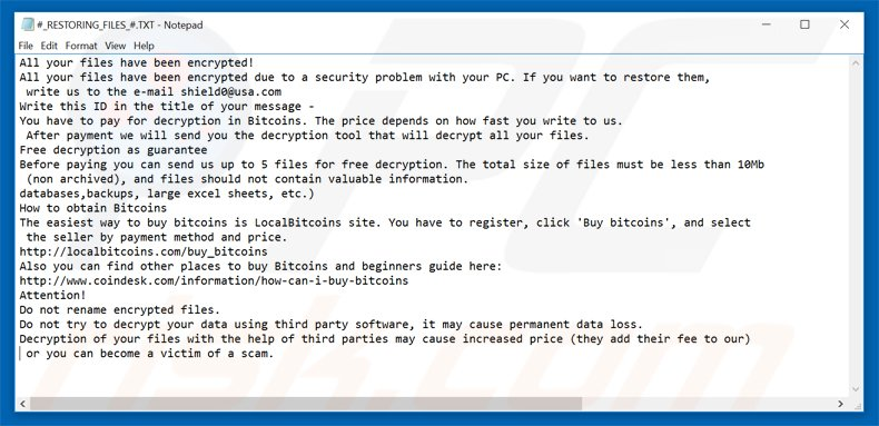 cryptomix ransomware restoring files txt file #_RESTORING_FILES_#.TXT