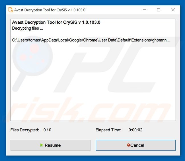 crysis ransomware decrypter by Avast