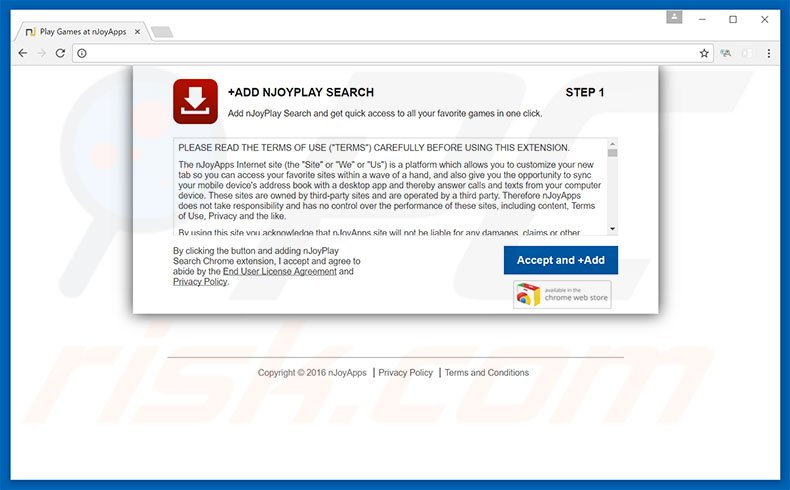 Malicious website promoting nJoyPlay browser hijacker