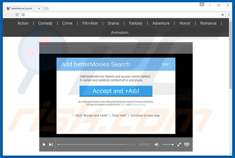 Malicious website promoting betterMovies browser hijacker