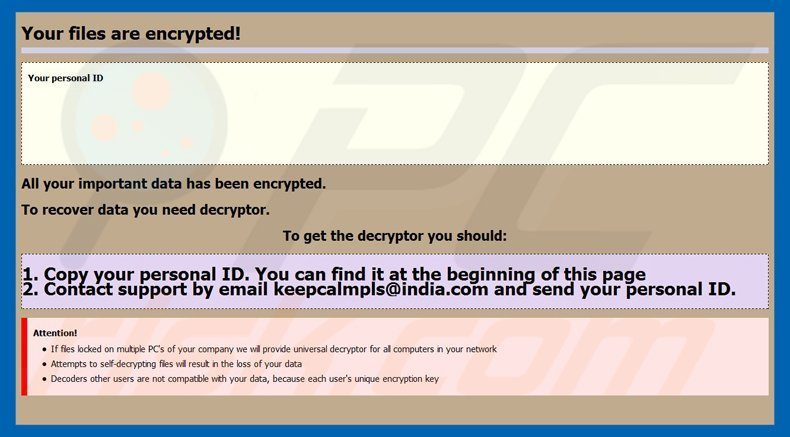 globeimposter ransomware .keepcalm variant