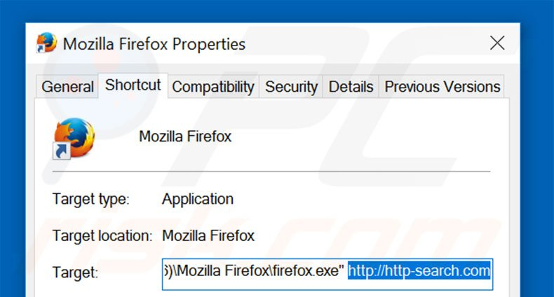 Removing http-search.com from Mozilla Firefox shortcut target step 2
