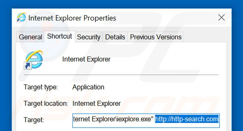 Removing http-search.com from Internet Explorer shortcut target step 2
