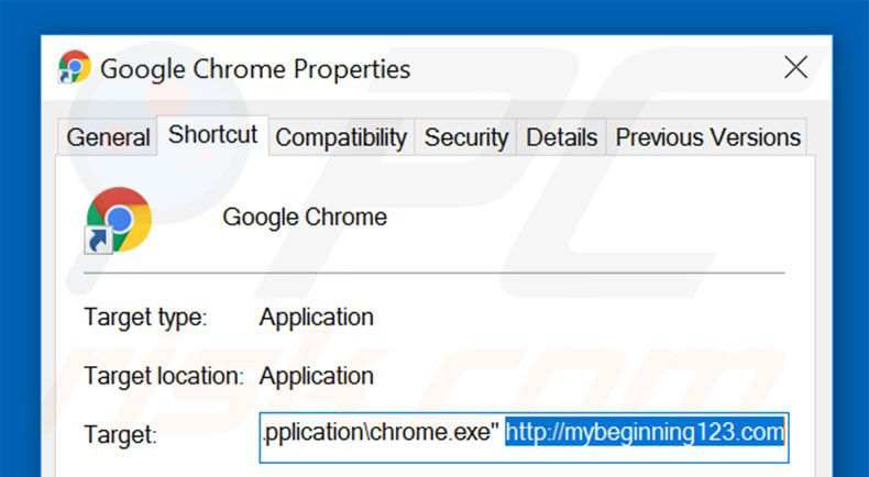 Removing mybeginning123.com from Google Chrome shortcut target step 2