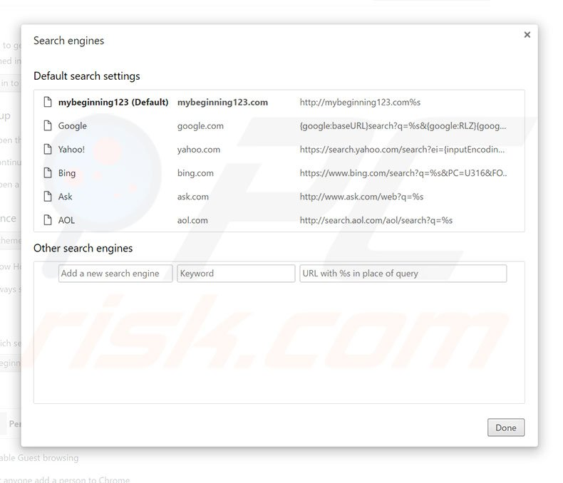 Removing mybeginning123.com from Google Chrome default search engine