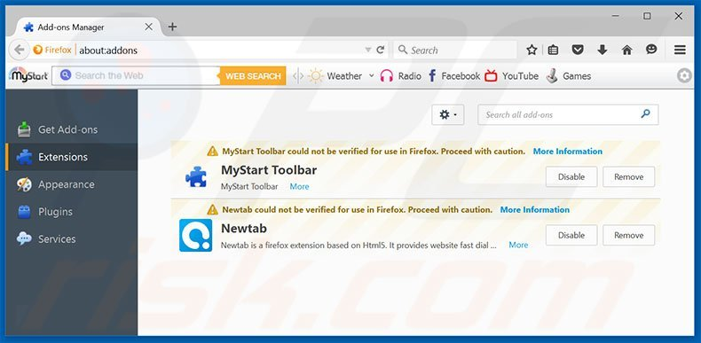 Removing mybeginning123.com related Mozilla Firefox extensions
