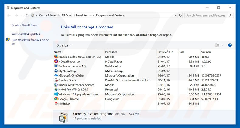 mybeginning123.com browser hijacker uninstall via Control Panel
