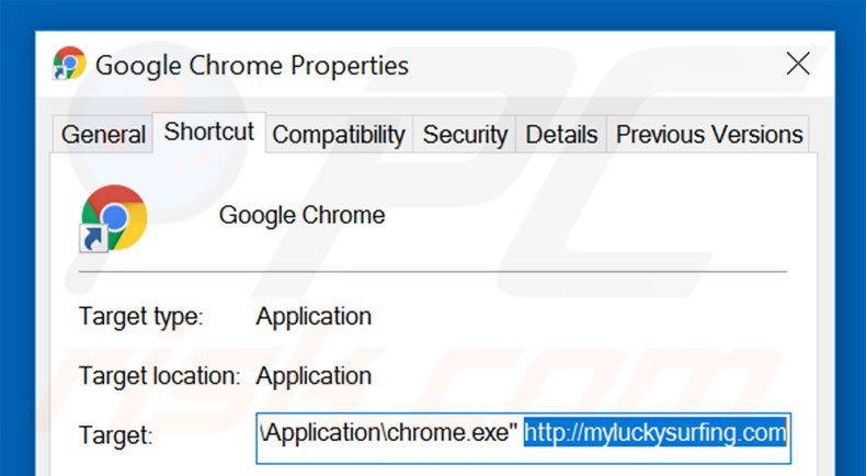 Removing myluckysurfing.com from Google Chrome shortcut target step 2