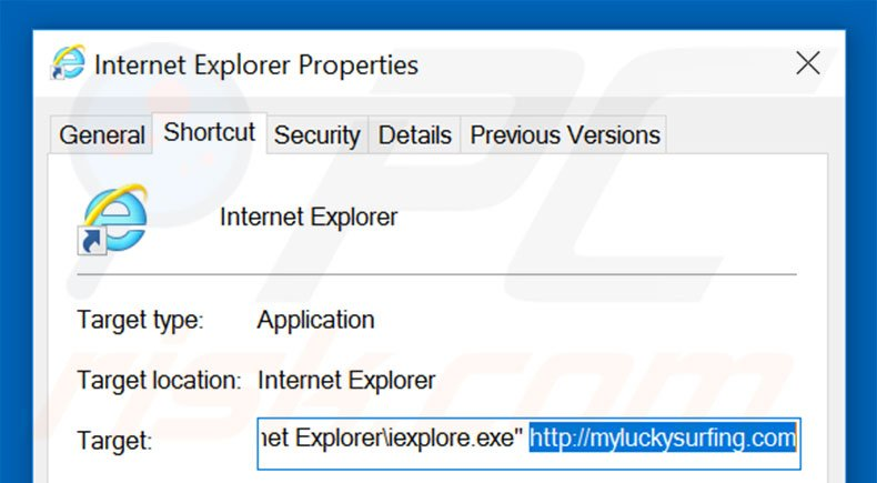 Removing myluckysurfing.com from Internet Explorer shortcut target step 2