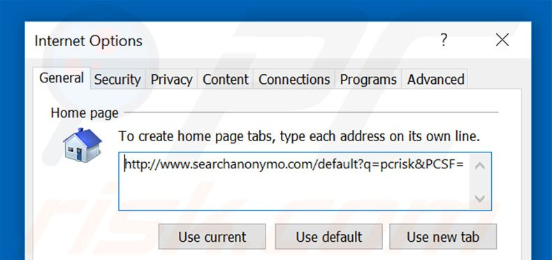 Removing searchanonymo.com from Internet Explorer homepage