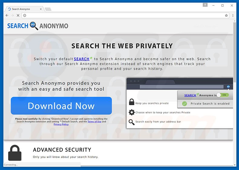 Website used to promote Search Anonymo browser hijacker