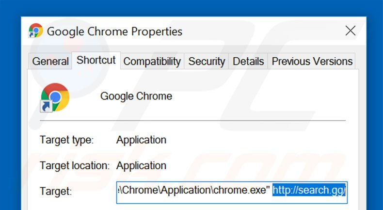 Removing search.gg from Google Chrome shortcut target step 2