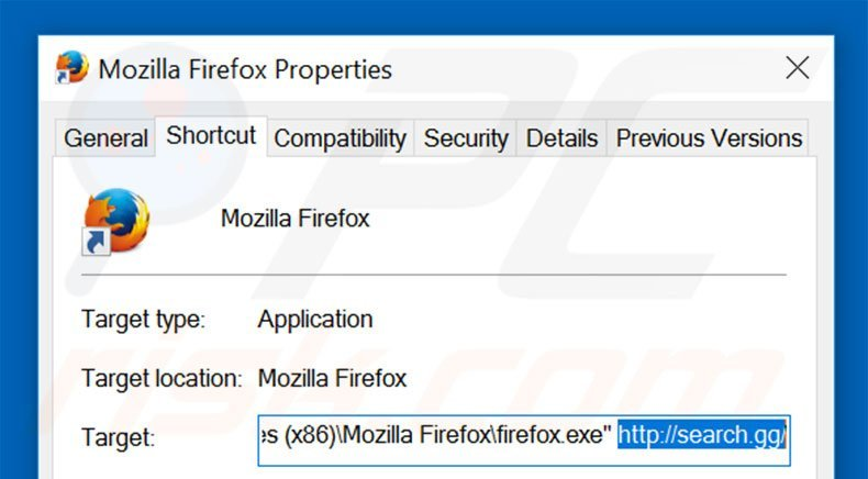 Removing search.gg from Mozilla Firefox shortcut target step 2