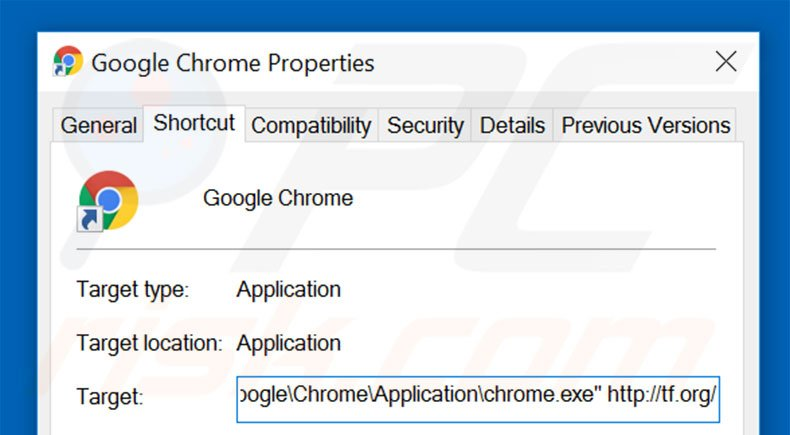 Removing tf.org from Google Chrome shortcut target step 2