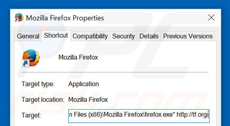 Removing tf.org from Mozilla Firefox shortcut target step 2