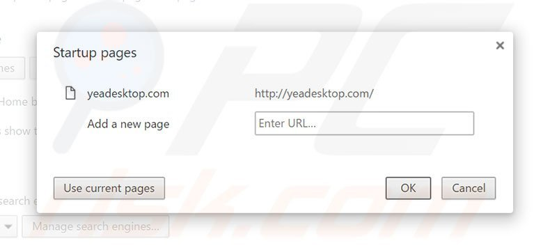 Removing yeadesktop.com from Google Chrome homepage