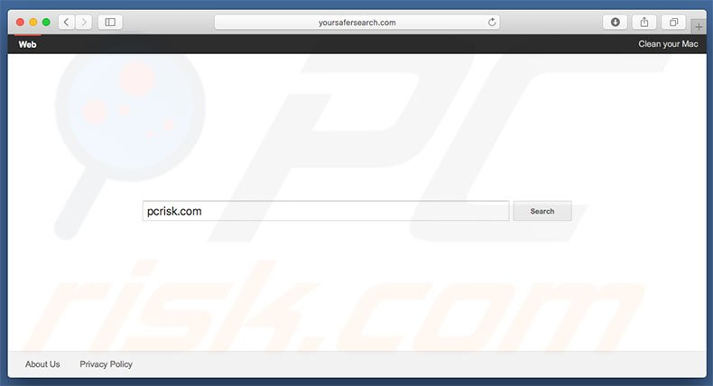 yoursafersearch.com browser hijacker on a Mac computer