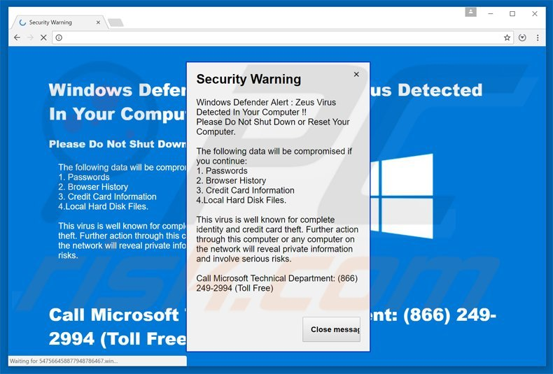 zeus virus detected scam variant 4