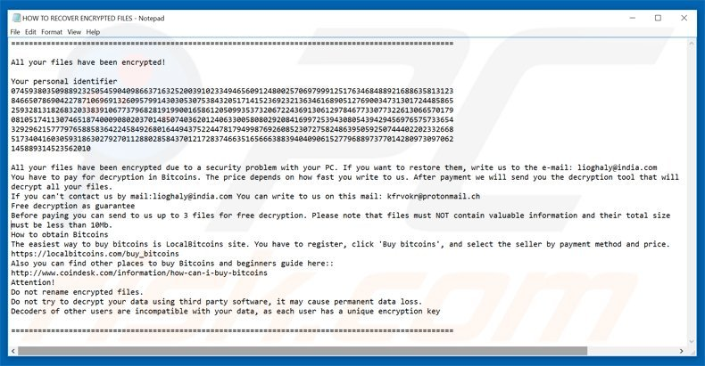 amnesia ransomware trmt variant ransom demanding message HOW TO RECOVER ENCRYPTED FILES.TXT