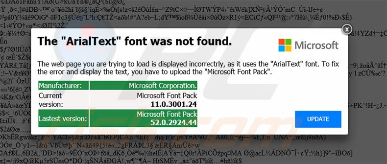 The ArialText Font Was Not Found second popup