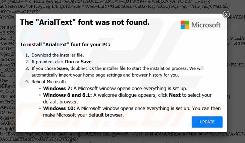 The ArialText Font Was Not Found third popup