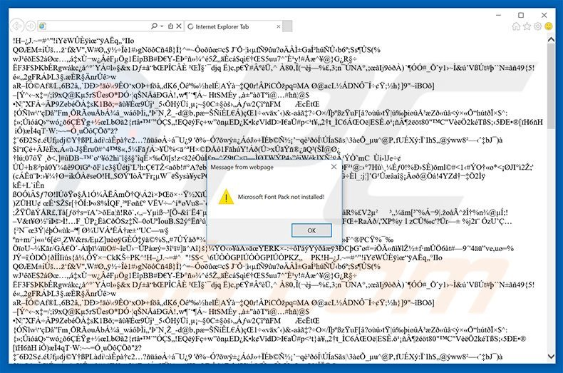 The ArialText Font Was Not Found adware