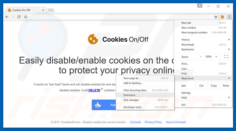 Removing Cookies On-Off  ads from Google Chrome step 1