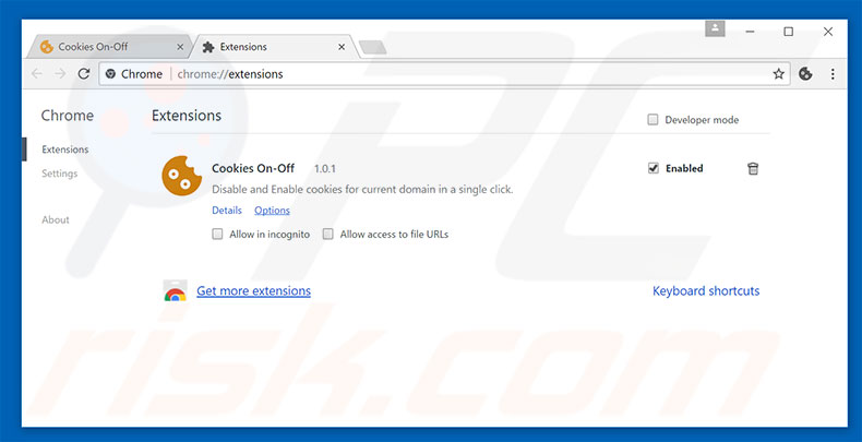 Removing Cookies On-Off ads from Google Chrome step 2