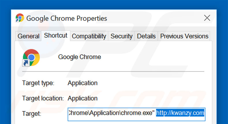 Removing kwanzy.com from Google Chrome shortcut target step 2