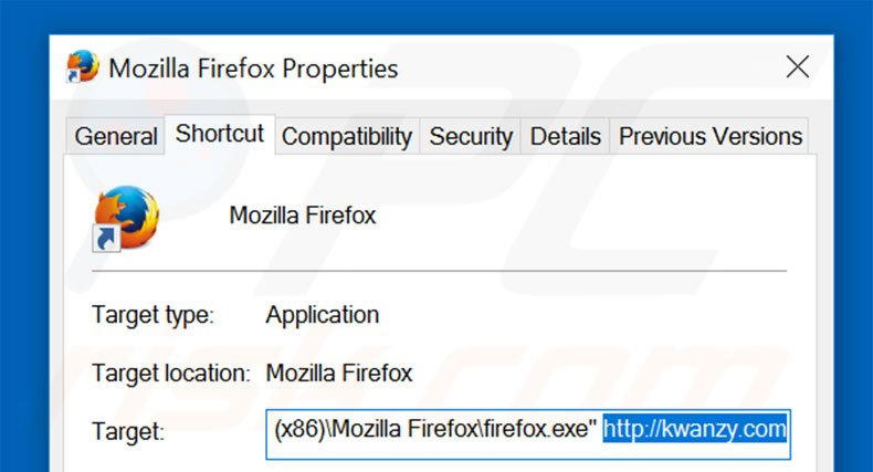 Removing kwanzy.com from Mozilla Firefox shortcut target step 2