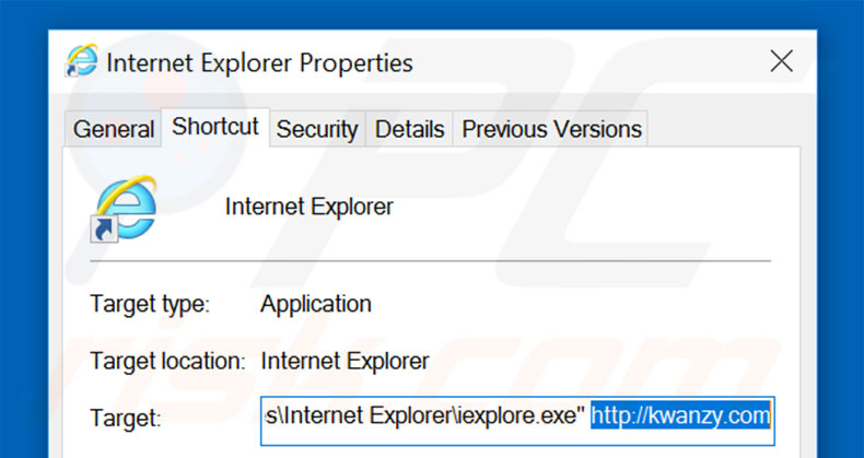 Removing kwanzy.com from Internet Explorer shortcut target step 2