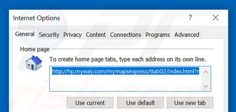 Removing hp.myway.com from Internet Explorer homepage
