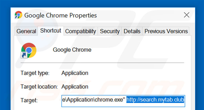 Removing search.mytab.club from Google Chrome shortcut target step 2