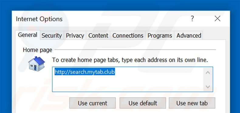 Removing search.mytab.club from Internet Explorer homepage