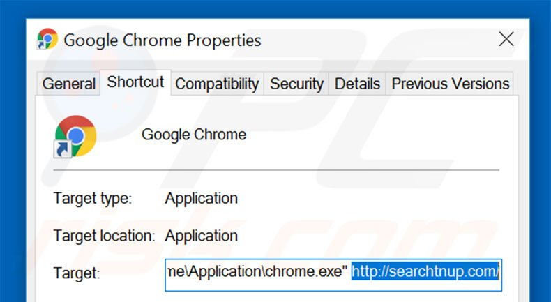 Removing searchtnup.com from Google Chrome shortcut target step 2
