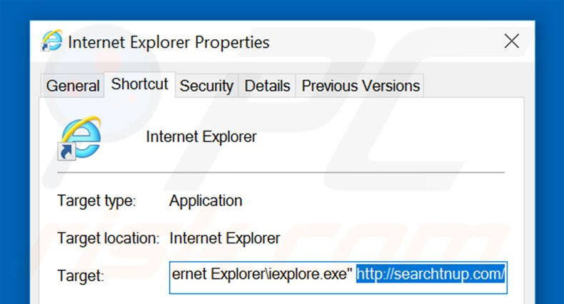 Removing searchtnup.com from Internet Explorer shortcut target step 2