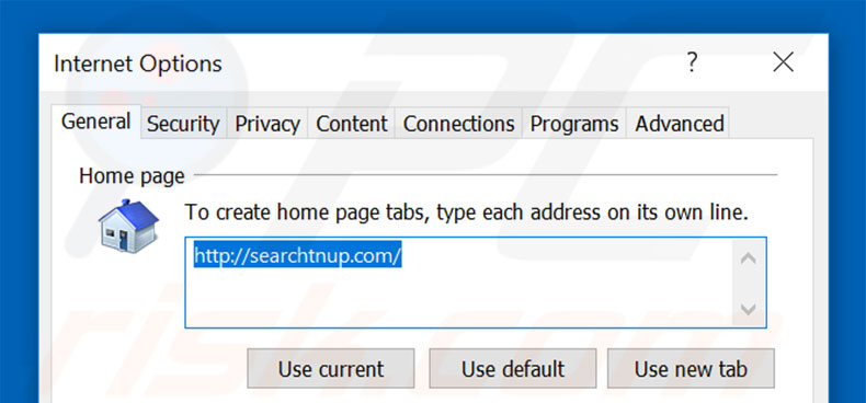 Removing searchtnup.com from Internet Explorer homepage