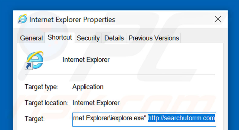 Removing searchutorrm.com from Internet Explorer shortcut target step 2