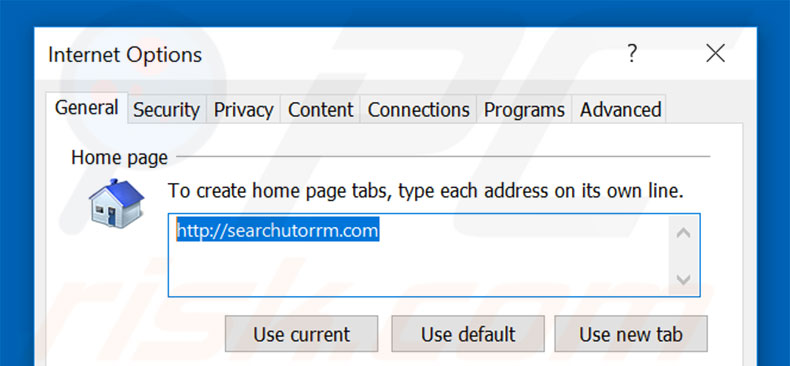 Removing searchutorrm.com from Internet Explorer homepage