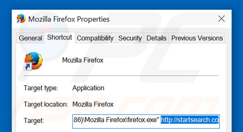 Removing startsearch.co from Mozilla Firefox shortcut target step 2