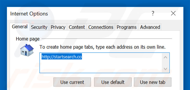 Removing startsearch.co from Internet Explorer homepage