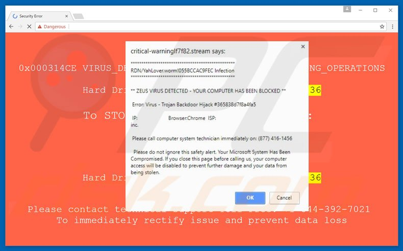 Error Virus - Trojan Backdoor Hijack adware