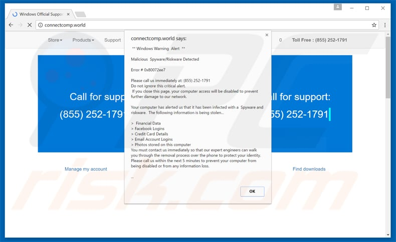 windows warning alert scam variant 3
