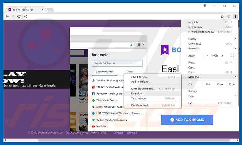 Removing Bookmarks Access  ads from Google Chrome step 1